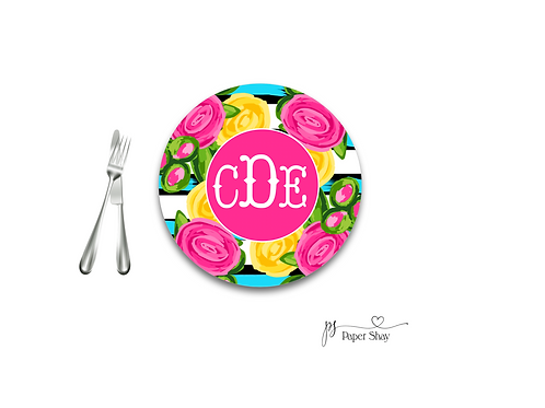 Personalized Melamine Plate  Bright Flowers