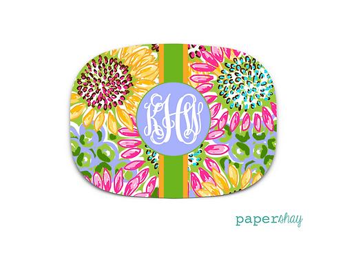 Personalized Melamine Platter  Sun Flowers