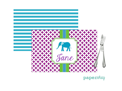 Placemat Laminated--Elephant