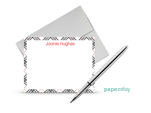 Flat Note Cards--Personalized/Burberry
