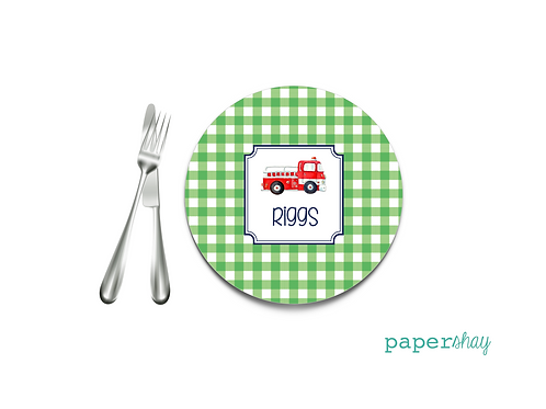 Personalized Melamine Plate  Gingham Truck