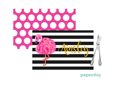 Placemat Laminated--Striped Flamingo