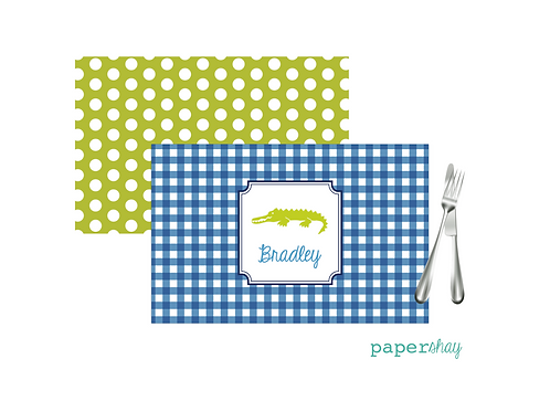 Placemat Laminated--Gingham Alligator