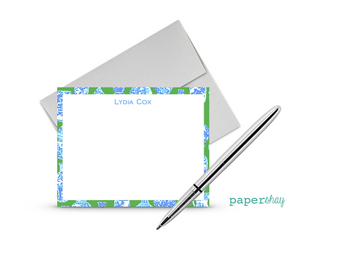 Flat Note Cards--Personalized/Chinoiserie
