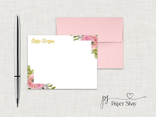 Flat Note Cards--Personalized/Watercolor Floral