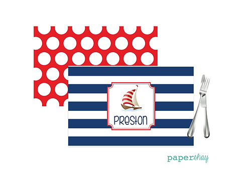 Placemat Laminated--Striped Sailboat