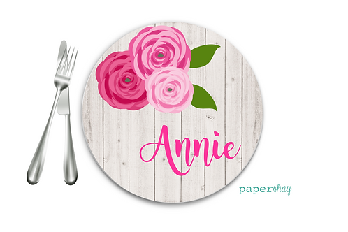 Personalized Melamine Plate Floral