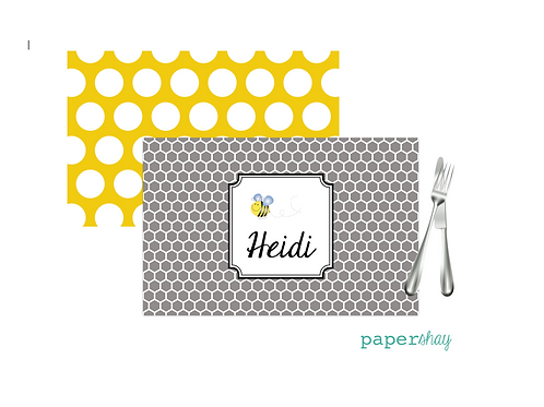 Placemat Laminated--Honeycomb Bee
