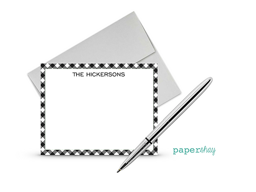 Flat Note Cards--Personalized/Gingham