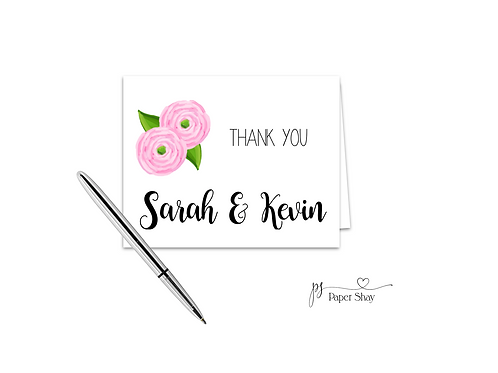 Fold Over Note Cards--Peonies