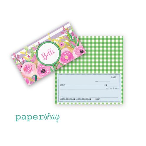 Checkbook Cover-Floral Stripe