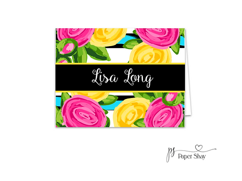 Fold Over Note Cards--Bright Floral