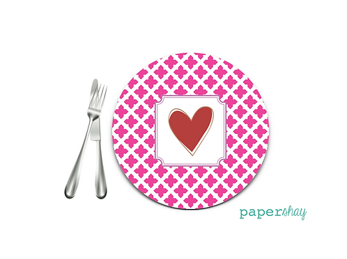 Personalized Melamine Plate  Heart