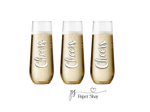 Champagne Stemless Glass--Personalized