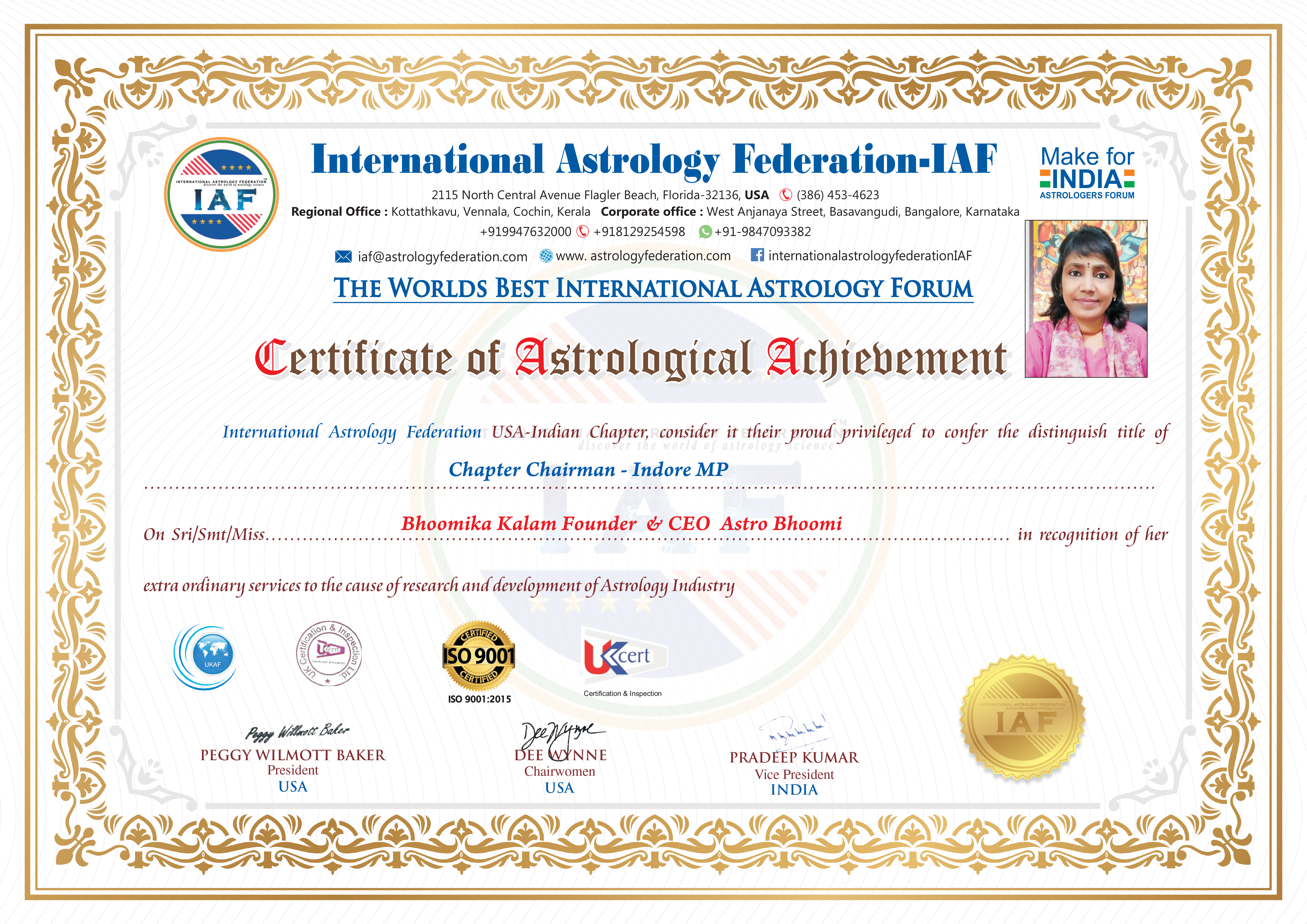 International Astrology Federation Certificate - Bhoomika Kalam