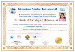 International Astrology Federation Certificate - Bhoomika Kalam