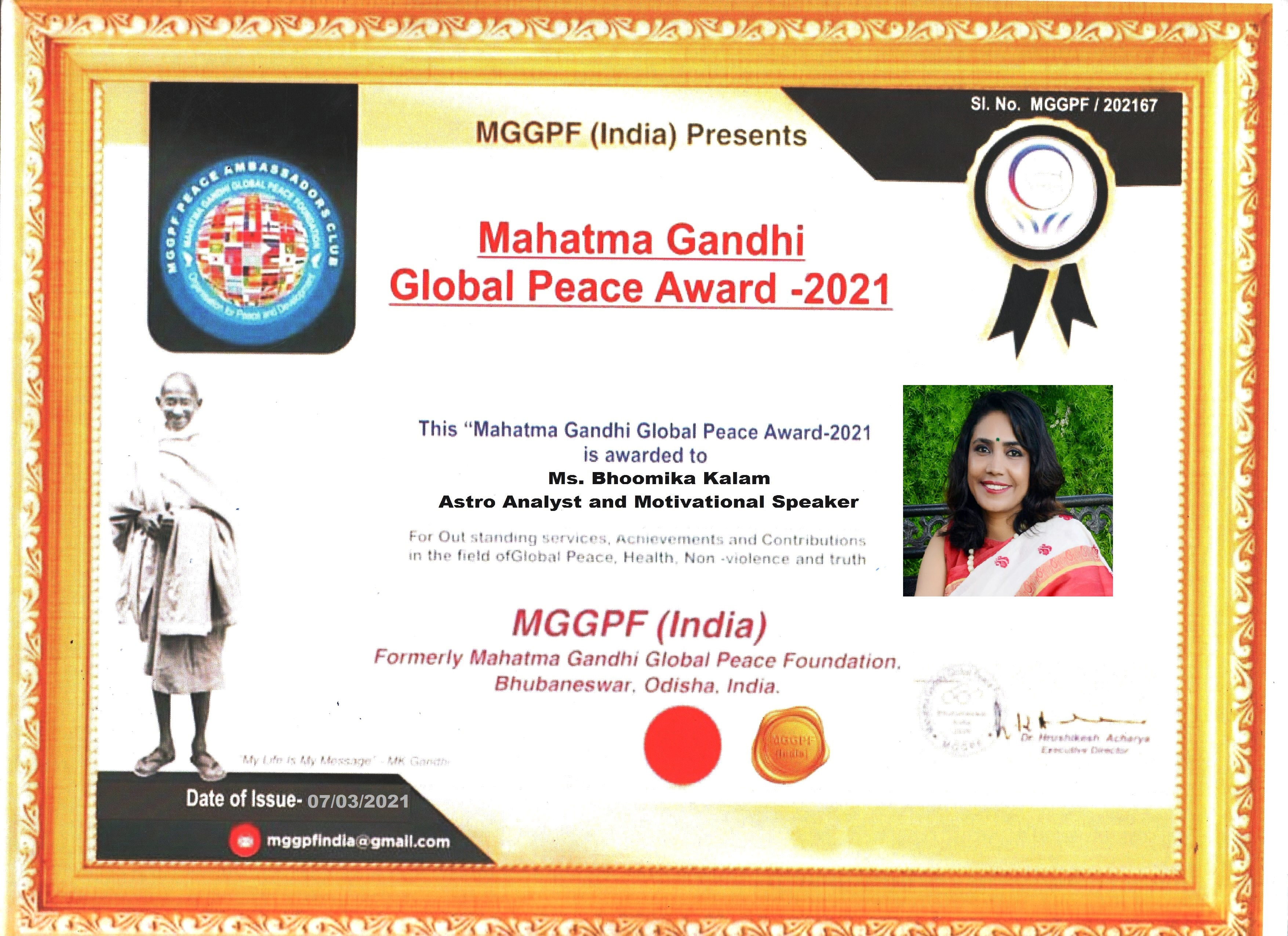 Mahatma Gandhi Global Peace Award 2021 - Bhoomika Kalam