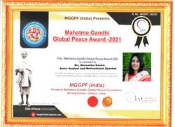 Mahatma Gandhi Global Peace Award 2021 - Bhoomika Kalam