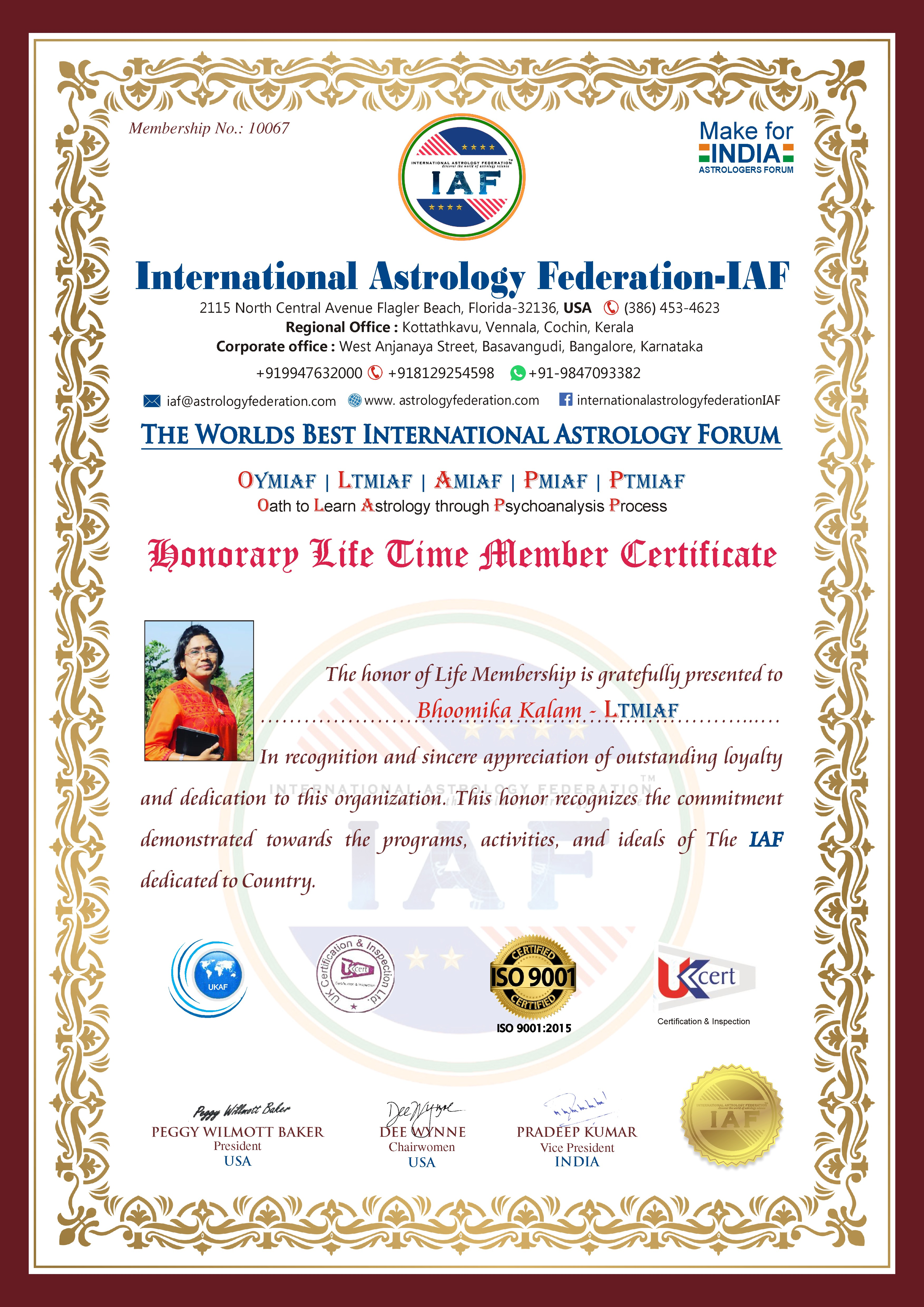 The world best Astrology Forum Award - Bhoomika Kalam