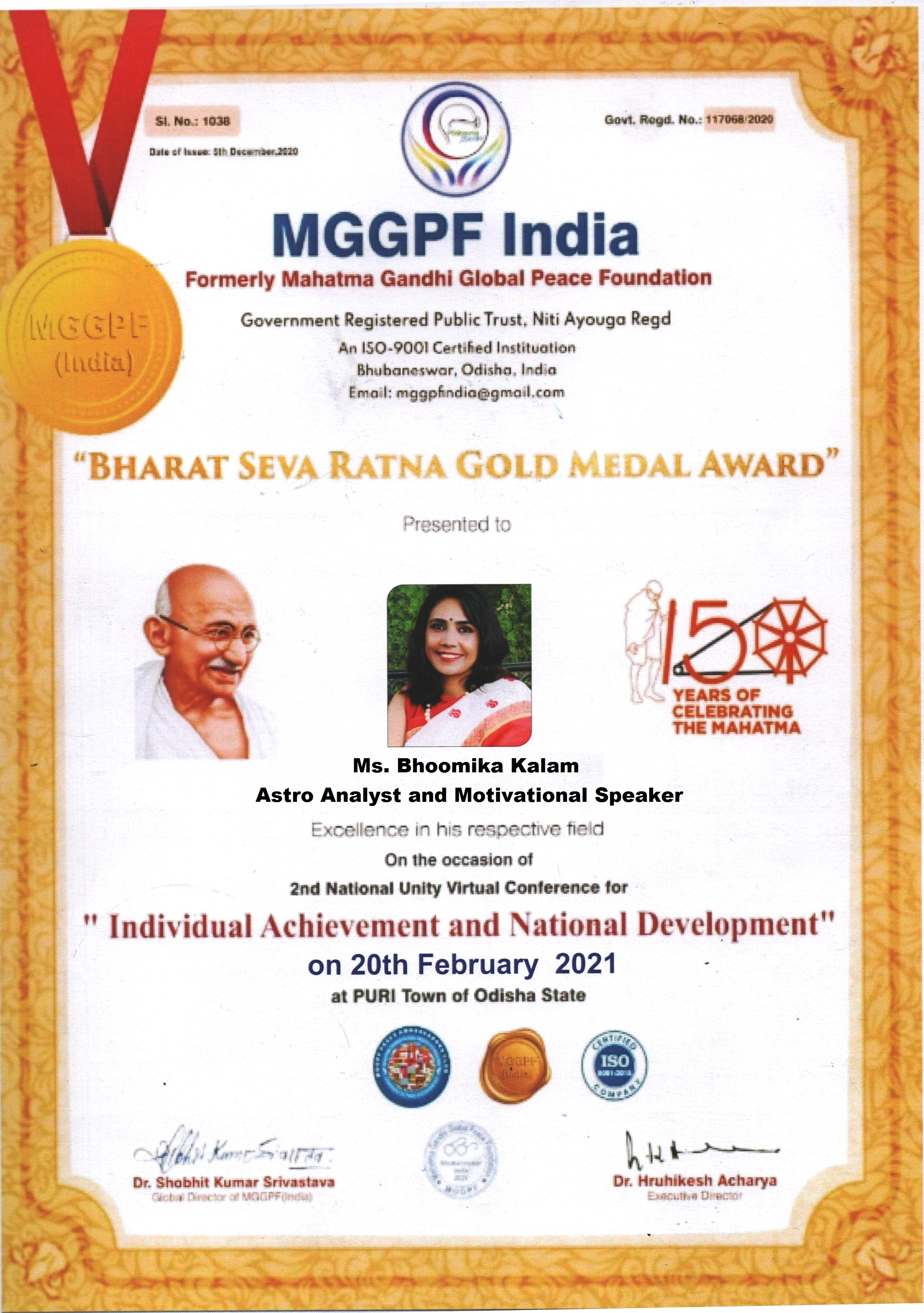 Bharat Seva Ratna Gold Medal Award - Bhoomika Kalam