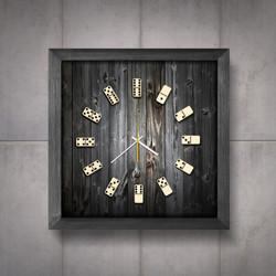 Relógio Dominó moldura cinza