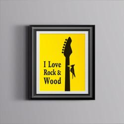 Quadro I Love Rock & Wood