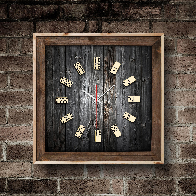 Relógio Dominó moldura marrom