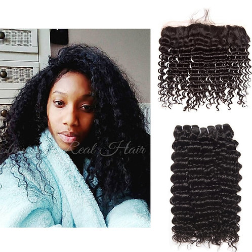 Curly Bundles with a Lace Frontal