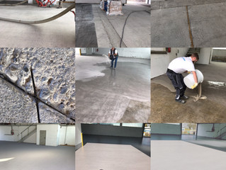 Plastifloor resins had been used for this floor renovation in a warehouse. It was approx. 300 m2, do