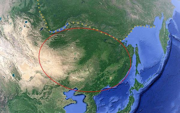 Continent Sud Ouest Kamchatka avec ligne