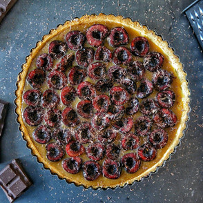 Cherry tart with coffee curd