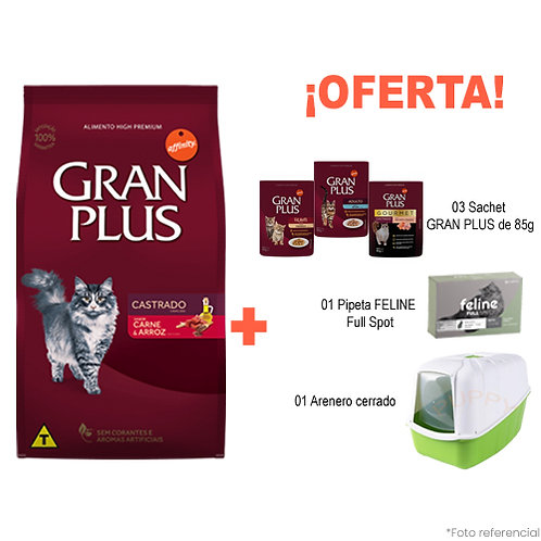 SMARTY PACK VERDE GRAN PLUS GATO CASTRADO MENU CARNE & ARROZ 10kg