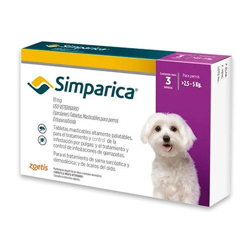 SIMPARICA 10 mg DE 2.5 A 5kg (CAJA x 3 TABLETAS)