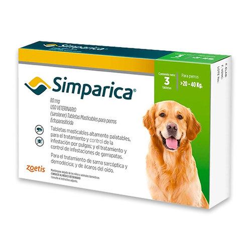 SIMPARICA 80 mg DE 20 A 40kg (CAJA x 3 TABLETAS)