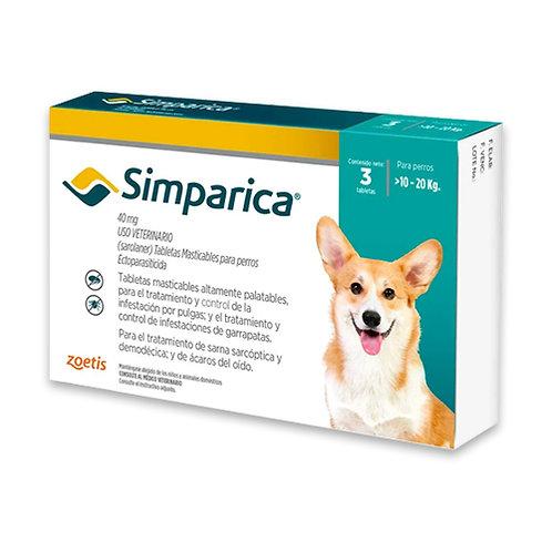 SIMPARICA 40 mg DE 10 A 20kg (CAJA x 3 TABLETAS)