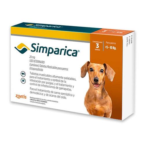 SIMPARICA 20 mg DE 5 A 10kg (CAJA x 3 TABLETAS)