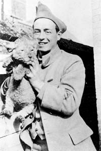 Lion cub mascot for Lafayette Escadrille pilots and poker players