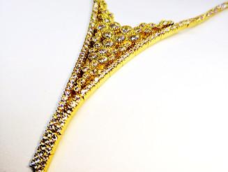 שרשרת זהב משובצת