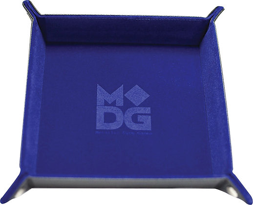 VELVET FOLDING DICE TRAY WITH LEATHER BACKING 10' X 10' BLUE