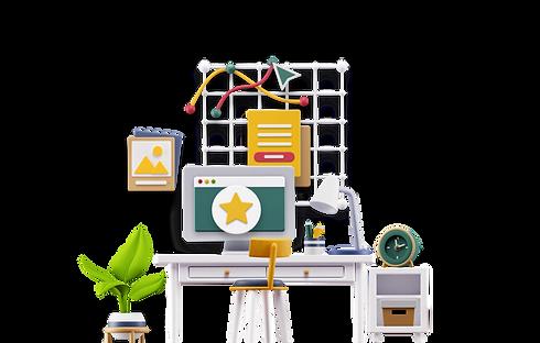 Mesa de Escritório do Site do Leandro Alves em 3D