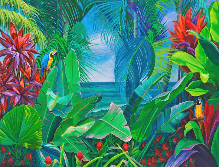 Ocean Paradise with Parrots I