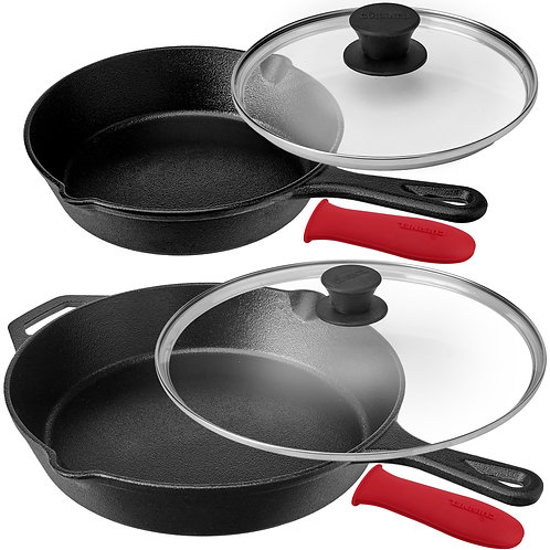 Pre-Seasoned Cast Iron Skillet 8-Inch, 12-Inch W/Glass Lid and silicone Handlel