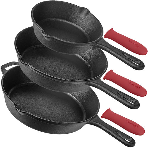 Pre-Seasoned Cast Iron Skillet 3-Piece chef Set (6-Inch 8-Inch and 10-Inch)