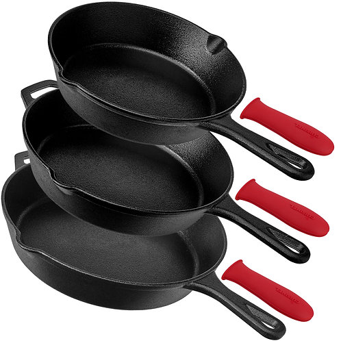 Pre-Seasoned Cast Iron Skillet 3-Piece Set (8-Inch, 10-Inch and 12-Inch)
