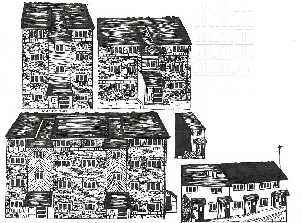 5 illustrated buildings, with 9 crosshair outlines