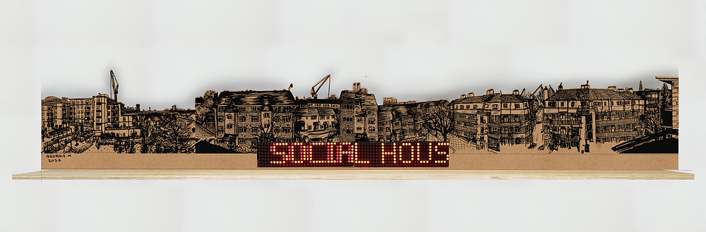 Digital collaged panoramic, with a brown background, shelf and LED Matrix