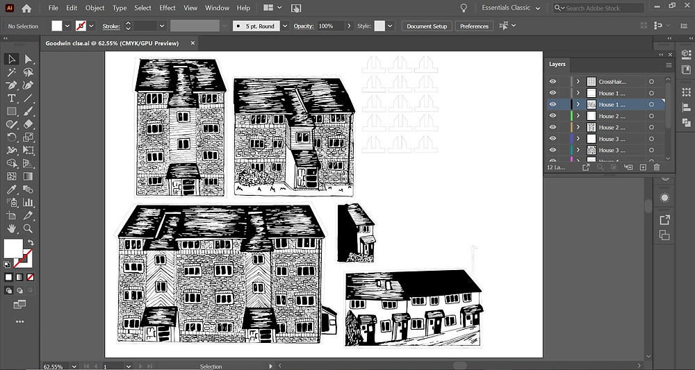 Screenshot of Adobe Illustrator workspace depicting 5 illustrated buildings with outlines around them and 9 crosshair outlines