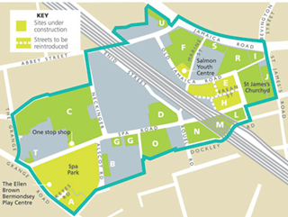 Image of map outlining masterplan for Bemondsey Spa Regeneration