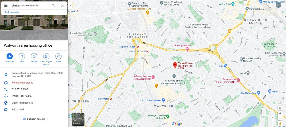 Google maps image showing pinpoint of Walworth area housing office