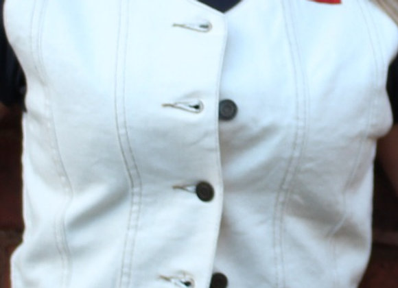 white Women's Denim Waistcoat